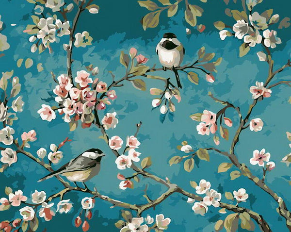 Birds on Branches - BestPaintByNumbers - Paint by Numbers Custom Kit