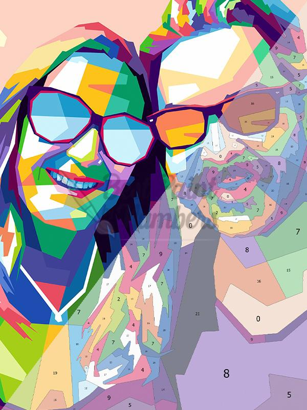 Custom Pop Art COUPLE Portrait - BestPaintByNumbers - Paint by Numbers Custom Kit