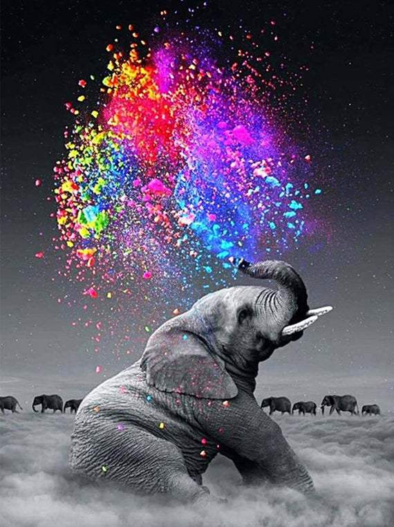 *FREE* Elephant Spraying Colors [Abstract & Colorful] - BestPaintByNumbers - Paint by Numbers Custom Kit