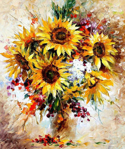 *FREE* HAPPY SUNFLOWERS [FLOWER ART] - BestPaintByNumbers - Paint by Numbers Custom Kit