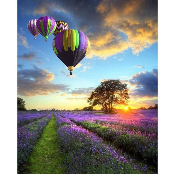 Hot Air Balloon Over Lilacs - BestPaintByNumbers