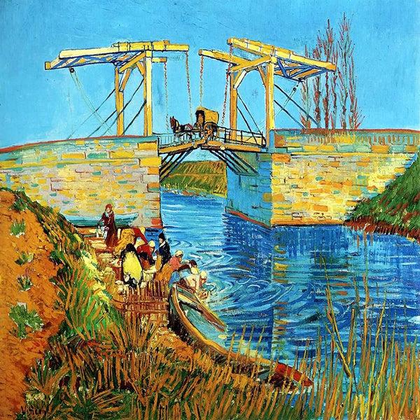 The Langlois Bridge at Arles with Women Washing - Van Gogh - 1888 - BestPaintByNumbers - Paint by Numbers Custom Kit