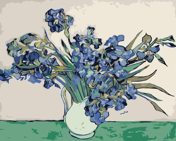 Vase with Irises - Van Gogh - BestPaintByNumbers - Paint by Numbers Custom Kit