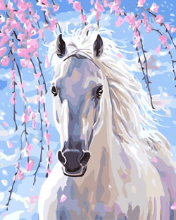 White Horse - BestPaintByNumbers - Paint by Numbers Custom Kit