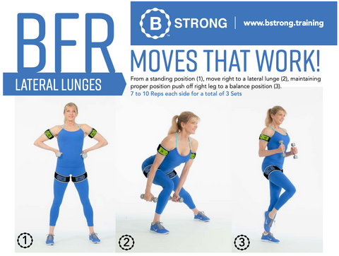 Blood flow restriction exercises - BFR lateral lunges with Kathy Smith