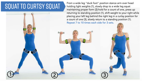 Blood flow restriction exercises - BFR squat to curtsy squat with Kathy Smith