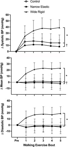 Figure 1. Systolic, mean, and diastolic arterial blood pressure (BP) before and during each 2-min interval of the walking exercise. *P < 0.05 vs. Wide Rigid cuffs, †P < 0.05 vs. the Control. Data are means ± SEM.