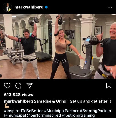 Mark Wahlberg training with B Strong Blood Flow Restriction (BFR) Bands
