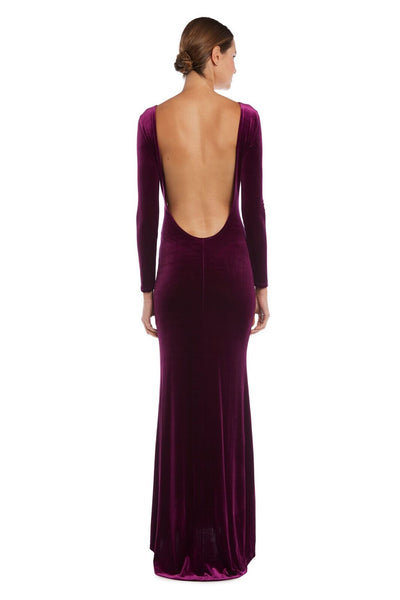 Velvet Open Back Gown