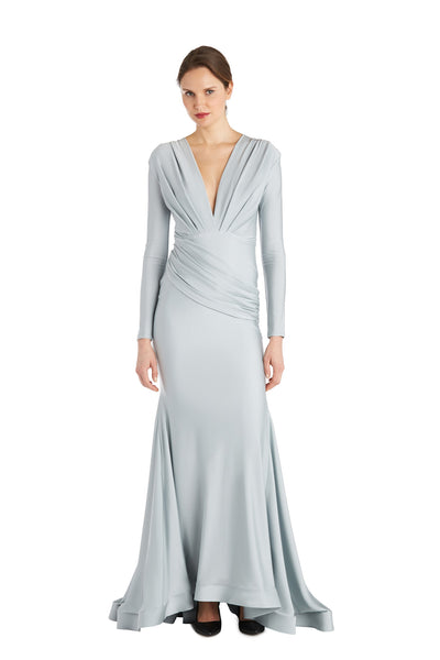 Deep V Long Sleeve Gown