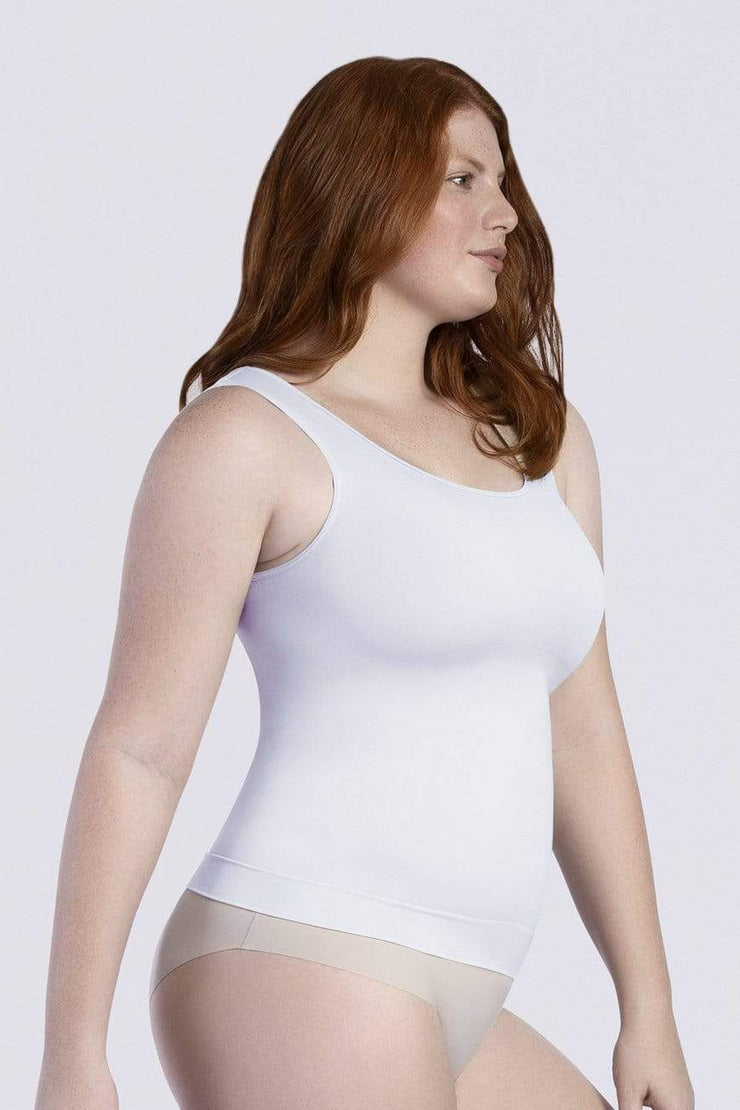 NCDI FASHION SHAPE WHITE / S ESSENTIAL SHAPING SQUARE NECK CONTROL TANK LUNAVUE Shapewear