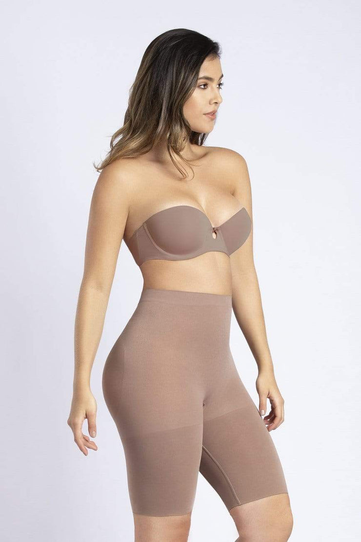 NCDI SEAMLESS COCOA / XS SECOND SKIN SEAMLESS BUTT-LIFT THIGH SLIMMER LUNAVUE Shapewear