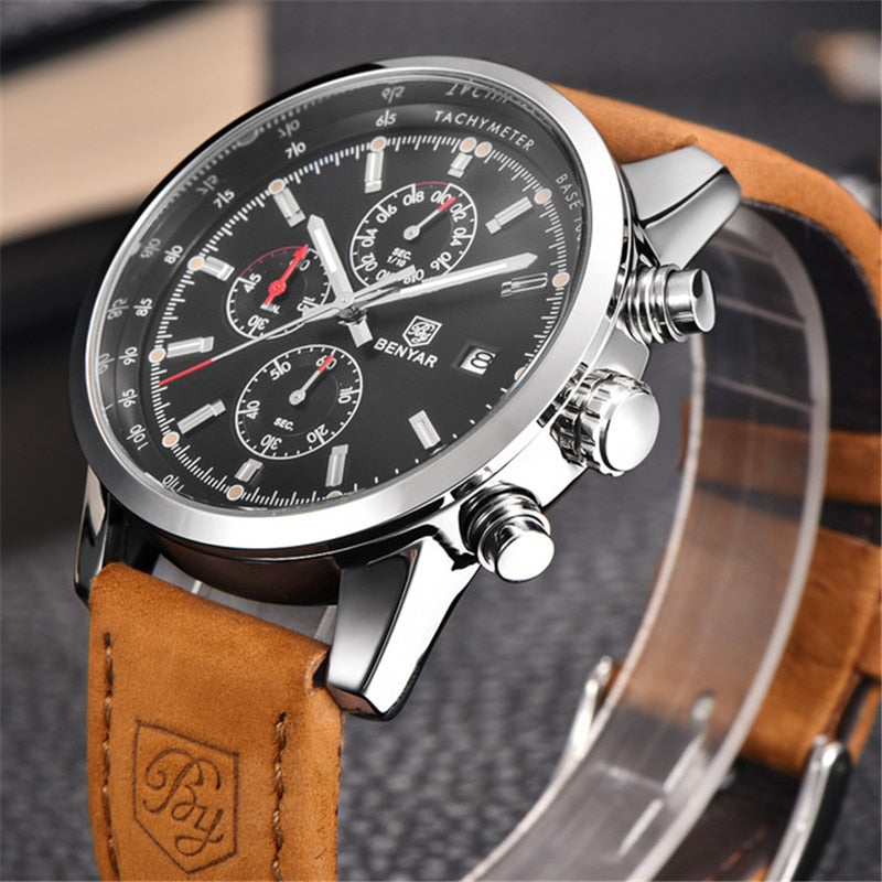 5f28749a2 Male Leather Waterproof Chronograph Quartz Military Wrist Watch ...