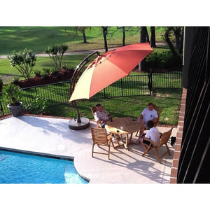 Sun Garden 13 Ft. Easy Sun Cantilever Umbrella and Parasol, the Original from Germany, Indigo Blue Canopy with Bronze Frame