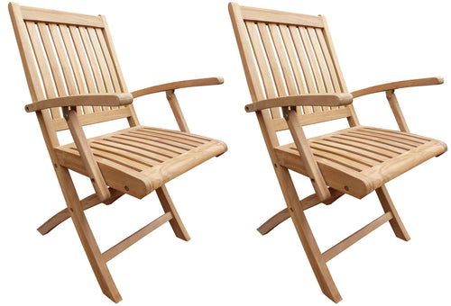 Teak Wood Naples Outdoor Folding Arm Chair, set of 2