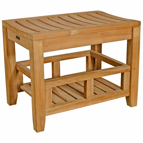 Teak Wood Malibu Shower Stool With Shelf
