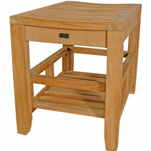 Load image into Gallery viewer, Teak Wood Malibu Shower Stool With Shelf