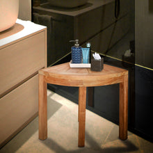 Load image into Gallery viewer, Teak Wood Corner Shower Stool