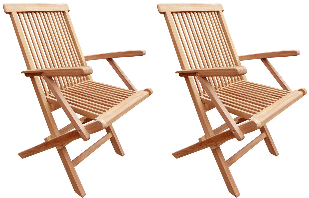 Teak Seaside Outdoor Folding Arm Chair, set of 2