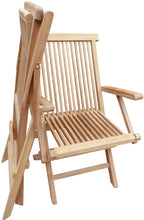 Load image into Gallery viewer, Teak Seaside Outdoor Folding Arm Chair, set of 2
