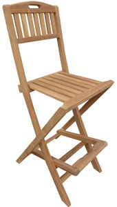 Teak Wood Beachside Outdoor Folding Barstool with Carry Handle