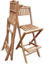 Load image into Gallery viewer, Teak Wood Beachside Outdoor Folding Barstool with Carry Handle