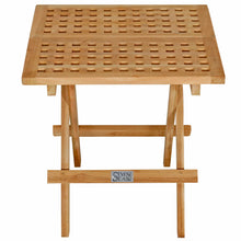 Load image into Gallery viewer, Teak Wood Square Folding Picnic Table with Carry Handle