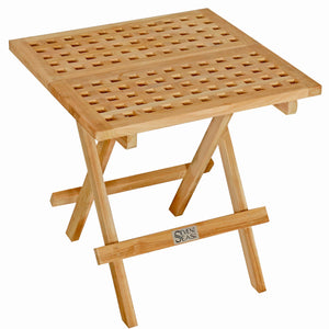 Teak Wood Square Folding Picnic Table with Carry Handle