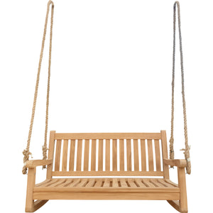 Teak Wood San Juan Double Outdoor Porch Swing, 4 foot