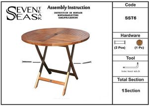 Teak Wood Panama Outdoor Folding Table, 47 inch
