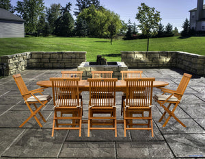 9 Piece Teak Wood West Palm Patio Dining Set with Oval Extension Table, 2 Folding Arm Chairs and 6 Folding Side Chairs