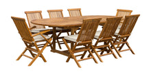 Load image into Gallery viewer, 9 Piece Teak Wood West Palm Patio Dining Set with Oval Extension Table, 2 Folding Arm Chairs and 6 Folding Side Chairs