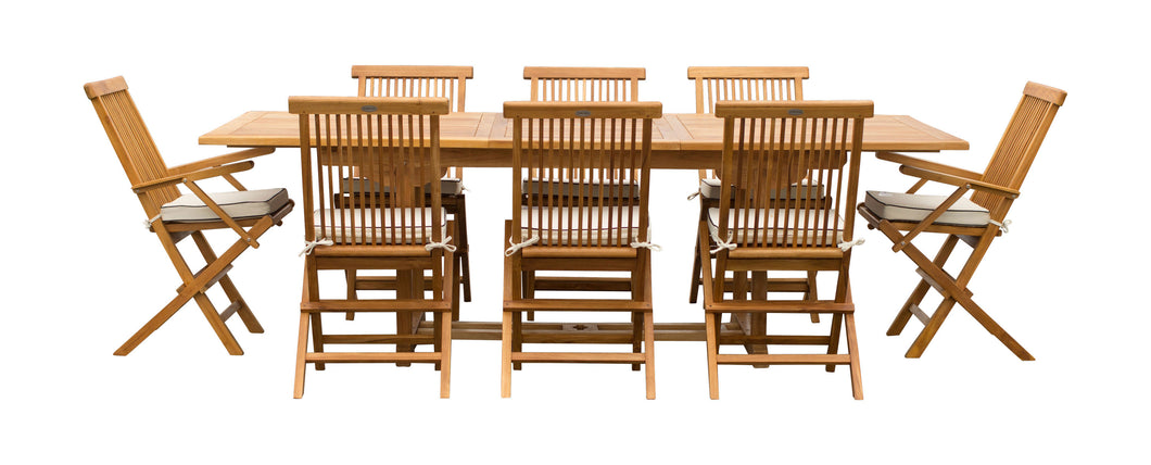 9 Piece Teak Wood West Palm Patio Dining Set with Rectangular Extension Table, 2 Folding Arm Chairs and 6 Folding Side Chairs
