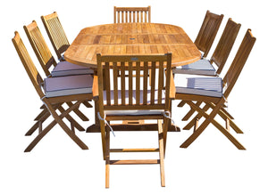 9 Piece Teak Wood Santa Monica Patio Dining Set with Oval Extension Table, 2 Folding Arm Chairs and 6 Folding Side Chairs