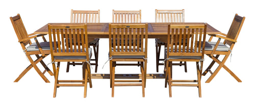 9 Piece Teak Wood Santa Monica Patio Dining Set with Rectangular Extension Table, 2 Folding Arm Chairs and 6 Folding Side Chairs