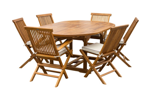 7 Piece Teak Wood Lauderdale Patio Dining Set with Round to Oval Extension Table, 2 Arm Chairs and 4 Side Chairs