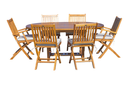 7 Piece Teak Wood San Diego Patio Dining Set with Round to Oval Extension Table, 2 Arm Chairs and 4 Side Chairs