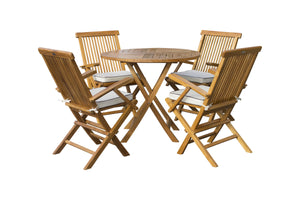 "5 Piece Teak Wood Long Beach 47"" Round Folding Table with 4 Folding Arm Chairs"