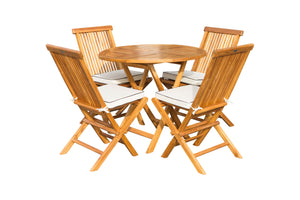 "5 Piece Teak Wood Long Beach 47"" Round Folding Table with 4 Folding Side Chairs"