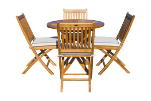 "5 Piece Teak Wood Las Palmas Patio Dining Set, 47"" Round Folding Table with 4 Folding Side Chairs"