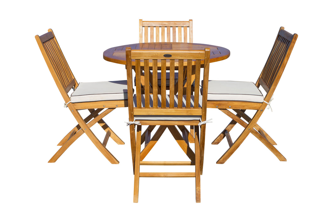5 Piece Teak Wood Las Palmas Patio Dining Set, 47