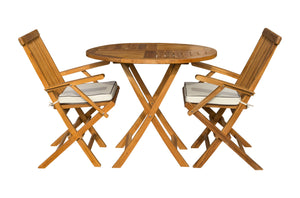 "3 Piece Teak Wood Valencia Patio Dining Set, 36"" Round Folding Table with 2 Folding Arm Chairs"