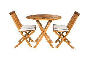 "3 Piece Teak Wood Valencia Patio Dining Set, 36"" Round Folding Table with 2 Folding Side Chairs"
