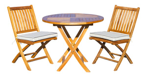"3 Piece Teak Wood Long Beach Patio Dining Set, 36"" Round Folding Table with 2 Folding Side Chairs"