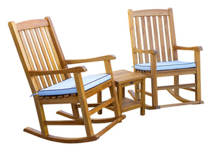3 Piece Teak Wood Oceanside Patio Lounge Set with 2 Rocking Chairs and Side Table