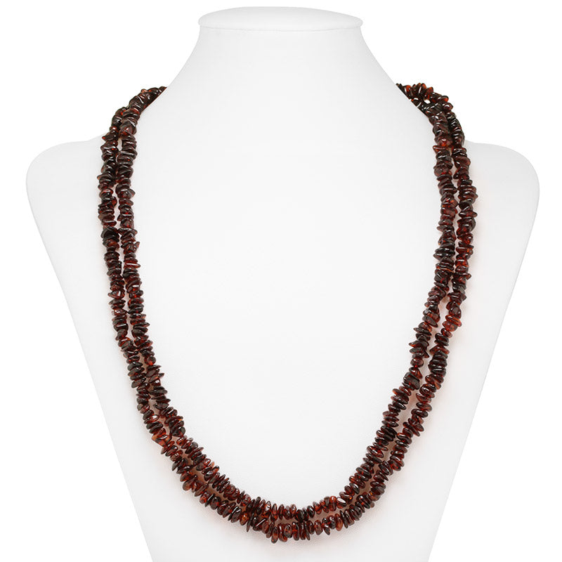 collar ambar largo brandy oscuro