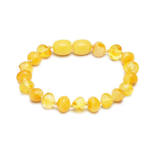 Mini Pulsera de Ámbar Color Amarillo Transparente y Opaco