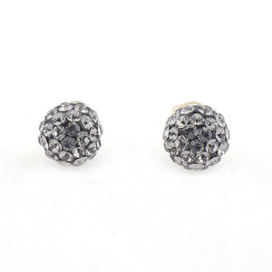 Pendientes Bola Diamante Negro 8 mm
