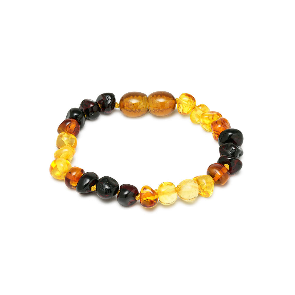 mini pulsera ambar colores amarillo, brandy y negro