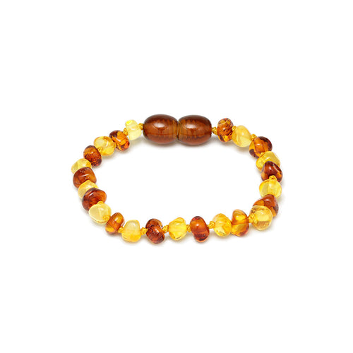mini pulsera ambar color amarillo y brandy
